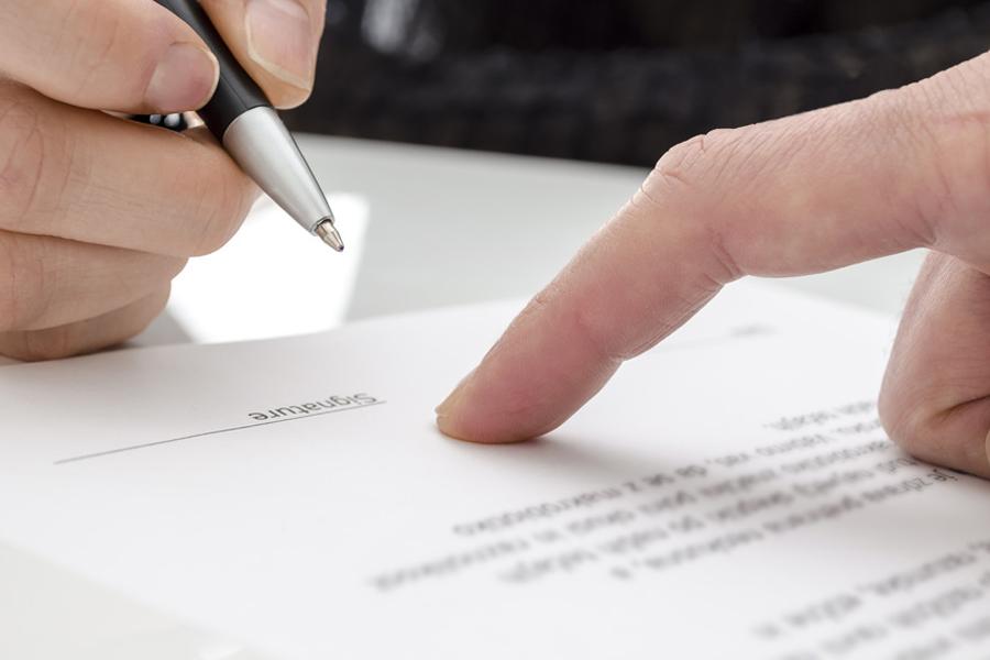 Unterschrift eines Formulars
