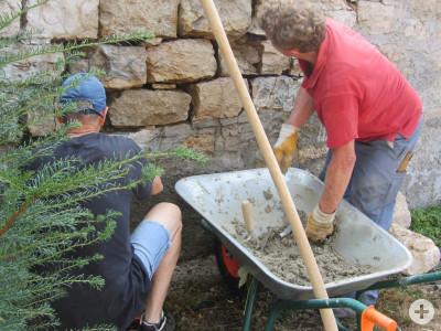 Arbeiten zum Erhalt der historischen Mauern